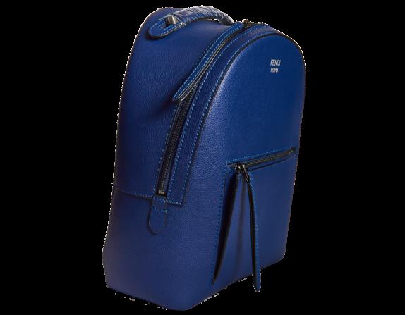 Фото синий кожаный рюкзак - 3
